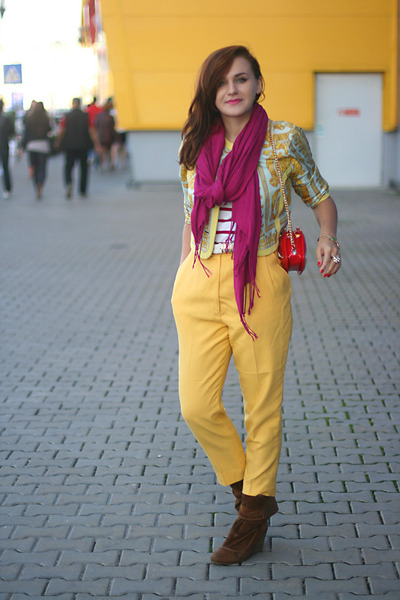 gold versace vintage jacket - brown Zara boots - red OASAP bag