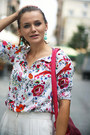 White-flower-print-oasap-shirt-hot-pink-suede-oasap-bag
