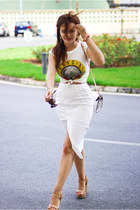 white River Island skirt - tawny Stradivarius sandals - white Primark t-shirt