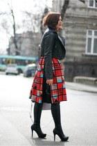 red printed vintage skirt - black leather asos jacket - light purple OASAP bag
