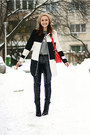 Black-ankle-oasap-boots-white-checkered-oasap-coat-red-zara-bag