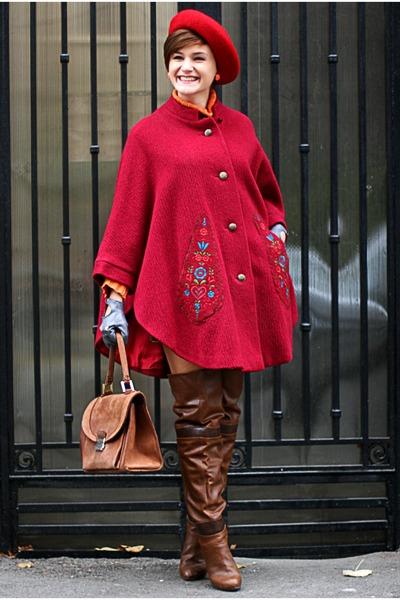 red vintage cape - brown Stradivarius boots - vintage accessories