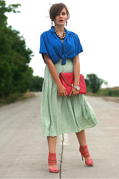blue vintage shirt - hot pink asos bag - bubble gum Zara sandals - lime green pl