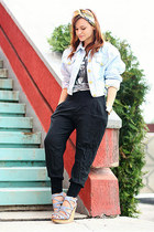 black River Island pants - light blue vintage escada jacket