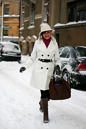 white Topshop coat - vintage accessories