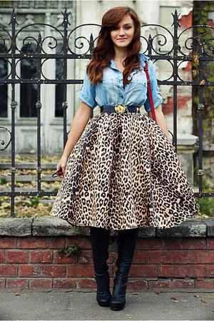 tawny midi Choies skirt - sky blue denim Zara shirt