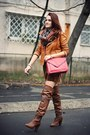 Dark-brown-over-the-knee-stradivarius-boots-brick-red-zara-bag