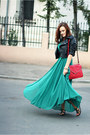 Green-chiffon-oasap-dress-black-cropped-asos-jacket-brick-red-zara-bag