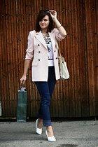 light pink vintage blazer - white H&M shoes