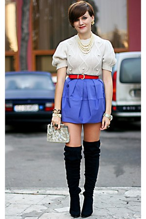 ivory Luella sweater - purple Primark skirt - vintage accessories