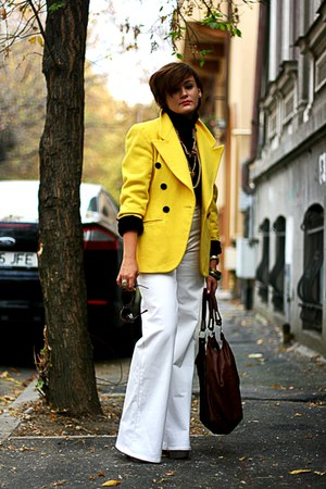 yellow vintage blazer - white H&amp;M pants - black top