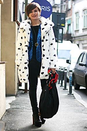 blue leopard print vintage blazer - black litas Jeffrey Campbell boots