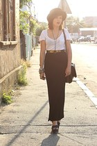 black vintage skirt - white Bershka t-shirt - vintage accessories