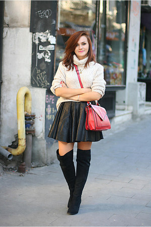brick red Zara bag - black over the knee new look boots