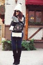 white H&M hat - black faux fur H&M scarf