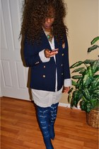 blue thrift blazer - blue denim boots Sheinside boots