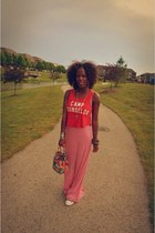 red maxi dress Forever 21 dress - red crop top unknown brand top