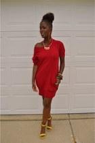 red vintage dress - lime green heels