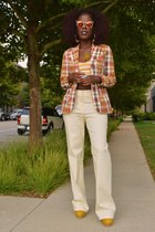 red vintage blazer - gold sunglasses - yellow pants