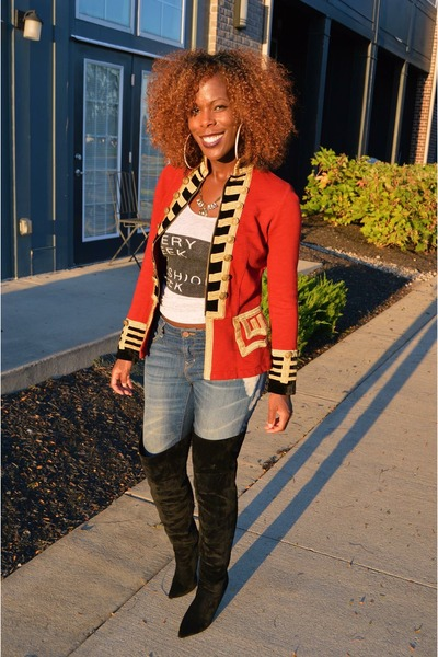 black Forever 21 boots - red Ralph Lauren jacket