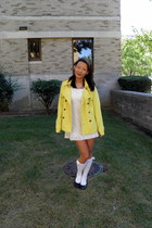 yellow Target jacket - thrifted dress - Wet Seal socks - thrifted flats