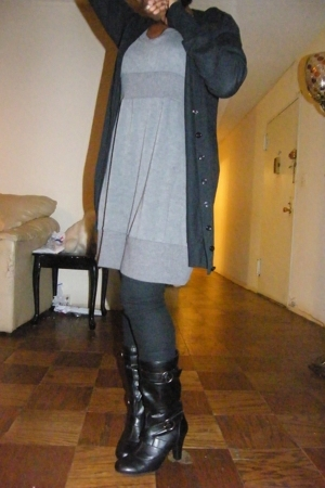 Topshop sweater -  dress - American Apparel leggings - payless boots