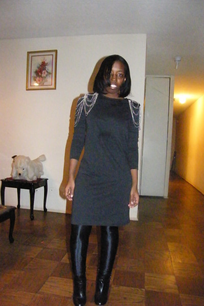 gray H&M dress - black American Apparel pants - payless boots