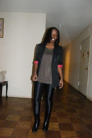 black Topshop blazer - gold Forever21 blouse - black American Apparel pants - bl