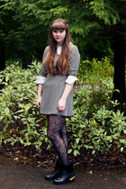 black tights - black antelope boots - eggshell striped modcloth dress