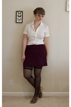 white Theory top - black H&M stockings - magenta J Crew skirt