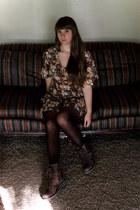 crimson floral thrifted dress - brown boots - dark brown tights