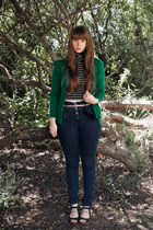 green Marc by Marc Jacobs cardigan - black Forever 21 top - navy Topshop pants