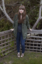 army green Anthropologie coat - navy Gap jeans - gray J Crew top - dark khaki Ea