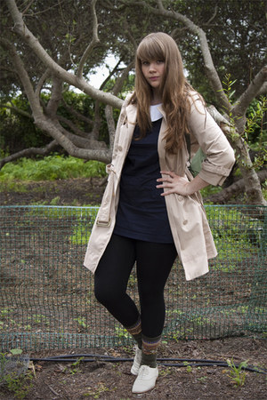 beige coat - ivory shoes - navy dress - Topshop leggings - black wool socks