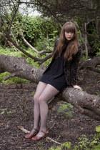 black velvet floral thrifted blazer - black fishnet tights - black Joie blouse