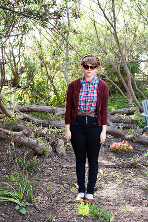 red plaid thrifted top - navy Topshop pants - maroon JCrew cardigan