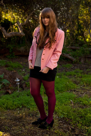pink vintage blazer - maroon tights - black American Apparel skirt