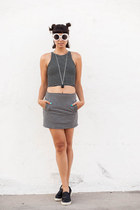 crop top American Apparel top - Motel Rocks skirt - slip ons Steve Madden flats