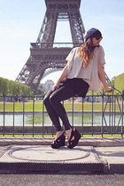 mariel Jeffery Campbell shoes - chambray Urban Outfitters hat - pleather legging