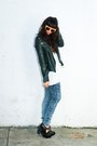 Forest-green-leather-moto-kenna-t-jacket-acid-wash-ymi-jeans-pants