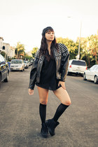 leather studs vintage jacket - homg Jeffery Campbell shoes - vintage intimate