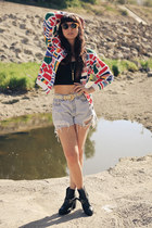flags vintage jacket - Dolcetta boots - crop top Motel Rocks top