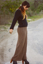 litas Jeffery Campell shoes - black Zara sweater - leopard maxi thrifted vintage