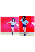 heather gray Jack Daniels shirt - navy Forever21 shorts - teal Madden Girl shoes