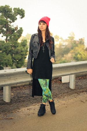 leather jacket Forever21 jacket - flatforms Jeffery Campbell shoes
