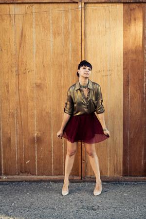 pleated Forever21 skirt - Aldo shoes - Ark & Co blouse