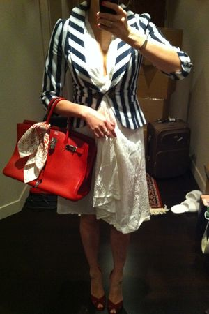 white calypso dress - white Forever 21 blazer - red Chrsitian Louboutin shoes -