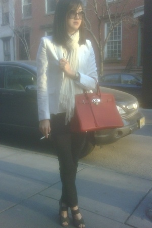H&M blazer - Love Quotes scarf - H&M pants - alaia shoes - Hermes purse - Chanel