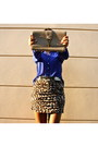 Light-brown-leopard-print-topshop-skirt-blue-forever-21-shirt