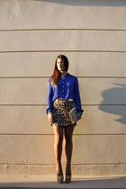 light brown leopard print Topshop skirt - blue Forever 21 shirt